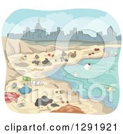 Clipart Of A Coastline Polluted With Garbage Near A City Royalty Free Vector Illustration
