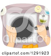 Clipart Of An Aerial View Of Hands Cooking With A Frying Pan Royalty Free Vector Illustration