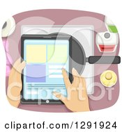 Poster, Art Print Of Aerial View Of Hands Looking At A Recipe On A Tablet Computer Over A Frying Pan
