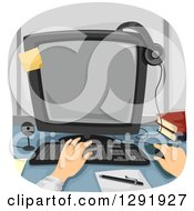 Clipart Of Caucasian Hands Working On A Desktop Computer Royalty Free Vector Illustration
