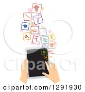 Clipart Of Caucasian Hands Using A Tablet Computer To Search For A Job Royalty Free Vector Illustration