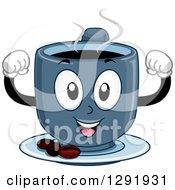 Clipart Of A Cartoon Happy Blue Hot Strong Coffee Character Flexing Muscles Royalty Free Vector Illustration