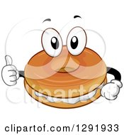 Clipart Of A Cartoon Happy Bagel And Cream Cheese Character Giving A Thumb Up Royalty Free Vector Illustration by BNP Design Studio