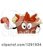 Clipart Of A Cartoon Happy Bucket Of Buffalo Wings Character Holding A Piece Royalty Free Vector Illustration by BNP Design Studio