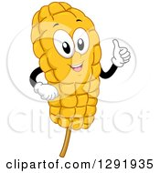Clipart Of A Cartoon Happy Corn Cob On A Stick Character Giving A Thumb Up Royalty Free Vector Illustration