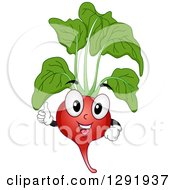 Clipart Of A Cartoon Happy Radish Character Giving A Thumb Up Royalty Free Vector Illustration