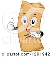 Clipart Of A Cartoon Happy Spring Roll Character Holding Chopsticks And A Thumb Up Royalty Free Vector Illustration by BNP Design Studio