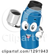 Clipart Of A Cartoon Happy Blue Thermos Character Holding Its Top Royalty Free Vector Illustration