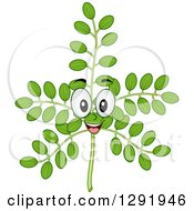 Clipart Of A Cartoon Happy Moringa Plant Stalk Character Royalty Free Vector Illustration