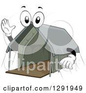 Clipart Of A Cartoon Happy Safari Lodge Tent Character Waving Royalty Free Vector Illustration