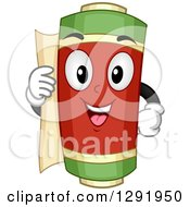 Clipart Of A Cartoon Happy Ancient Asian Scroll Character Royalty Free Vector Illustration