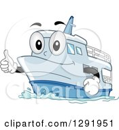 Clipart Of A Cartoon Happy Ship Character Holding A Thumb Up Royalty Free Vector Illustration