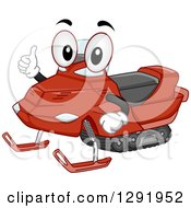 Clipart Of A Cartoon Happy Snowmobile Character Giving A Thumb Up Royalty Free Vector Illustration