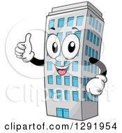 Clipart Of A Cartoon Happy Hotel Business Or Apartment Building Character Holding A Thumb Up Royalty Free Vector Illustration