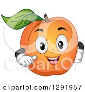 Clipart Of A Cartoon Happy Apricot Fruit Character Gesturing At Itself Royalty Free Vector Illustration