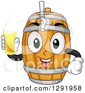 Clipart Of A Cartoon Happy Beer Keg Barrel Character Holding A Glass Royalty Free Vector Illustration