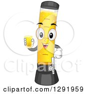 Clipart Of A Cartoon Happy Beer Tower Character Holding A Glass Royalty Free Vector Illustration