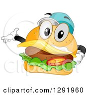 Cartoon Happy Cheeseburger Character Wearing A Baseball Cap And Presenting