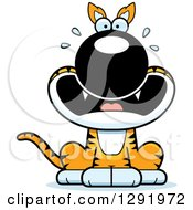 Clipart Of A Cartoon Scared Screaming Sitting Tasmanian Tiger Royalty Free Vector Illustration