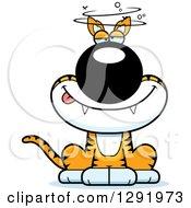 Clipart Of A Cartoon Drunk Or Dizzy Sitting Tasmanian Tiger Royalty Free Vector Illustration