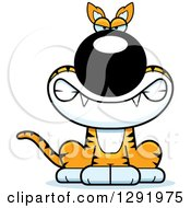 Clipart Of A Cartoon Happy Sitting Tasmanian Tiger Royalty Free Vector Illustration