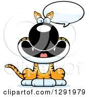Clipart Of A Cartoon Happy Talking Sitting Tasmanian Tiger Royalty Free Vector Illustration