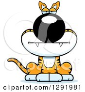 Clipart Of A Cartoon Bored Sitting Tasmanian Tiger Royalty Free Vector Illustration by Cory Thoman