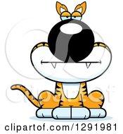 Clipart Of A Cartoon Bored Sitting Tasmanian Tiger Royalty Free Vector Illustration