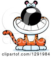 Clipart Of A Cartoon Happy Grinning Sitting Tiger Big Cat Royalty Free Vector Illustration