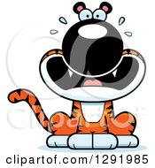 Clipart Of A Cartoon Scared Screaming Sitting Tiger Big Cat Royalty Free Vector Illustration