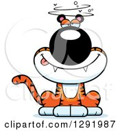 Clipart Of A Cartoon Dizzy Or Drunk Sitting Tiger Big Cat Royalty Free Vector Illustration