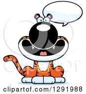 Clipart Of A Cartoon Happy Talking Sitting Tiger Big Cat Royalty Free Vector Illustration