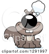 Clipart Of A Cartoon Dreaming Or Thinking Sitting Squirrel Royalty Free Vector Illustration