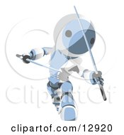 Blue Metal Robot Ninja Fighting With Swords Clipart Illustration