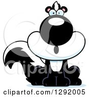 Clipart Of A Cartoon Surprised Gasping Sitting Skunk Royalty Free Vector Illustration