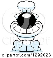 Clipart Of A Cartoon Happy Grinning White Poodle Dog Sitting Royalty Free Vector Illustration by Cory Thoman