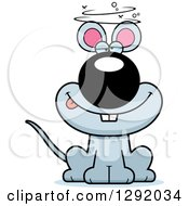 Clipart Of A Cartoon Dizzy Or Drunk Gray Mouse Sitting Royalty Free Vector Illustration