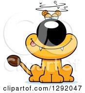 Cartoon Drunk Or Dizzy Lioness Sitting
