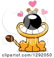 Cartoon Loving Lioness Sitting With Hearts