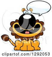 Clipart Of A Cartoon Happy Talking Male Lion Sitting Royalty Free Vector Illustration