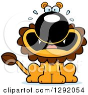 Clipart Of A Cartoon Scared Screaming Male Lion Sitting Royalty Free Vector Illustration