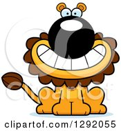 Clipart Of A Cartoon Happy Grinning Male Lion Sitting Royalty Free Vector Illustration