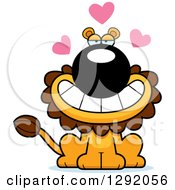 Clipart Of A Cartoon Loving Male Lion Sitting With Hearts Royalty Free Vector Illustration