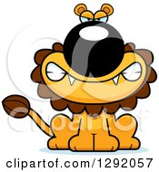 Clipart Of A Cartoon Mad Snarling Male Lion Sitting Royalty Free Vector Illustration