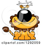 Clipart Of A Cartoon Dizzy Or Drunk Male Lion Sitting Royalty Free Vector Illustration