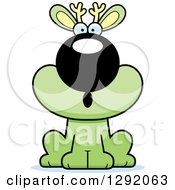 Clipart Of A Cartoon Surprised Gasping Green Jackalope Sitting Royalty Free Vector Illustration