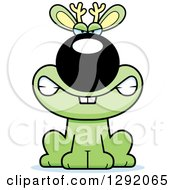 Clipart Of A Cartoon Mad Snarling Green Jackalope Sitting Royalty Free Vector Illustration by Cory Thoman