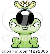Clipart Of A Cartoon Mad Snarling Green Jackalope Sitting Royalty Free Vector Illustration