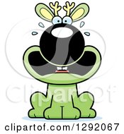 Clipart Of A Cartoon Scared Screaming Green Jackalope Sitting Royalty Free Vector Illustration