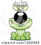 Clipart Of A Cartoon Drunk Or Dizzy Green Jackalope Sitting Royalty Free Vector Illustration